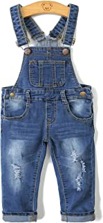 Kidscool Child Ripped Holes Stretchy Stone Washed Soft Jeans Overalls