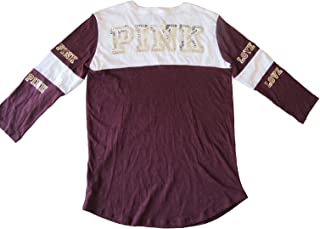 Victoria's Secret PINK Bling Sequin Colorblock T-Shirt Burgundy White