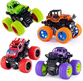 AM ANNA 4 Pack Monster Truck Toys for Boys and Girls, Inertia Car Educational Toy Cars, Friction Powered Push and Go Toy C...