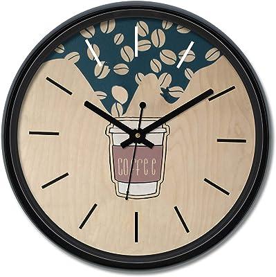 Amazon Brand - Solimo 12-inch Plastic & Glass Wall Clock - Espresso (Silent Movement), Black