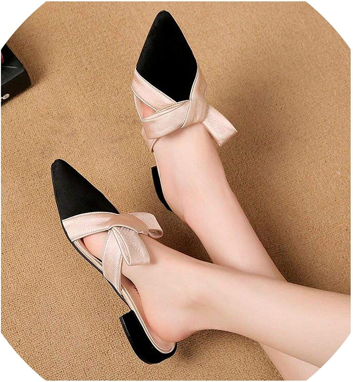 YOU LOOK PRETTY Women Sandals Pointed Toe Slippers Butterfly-Knot Mules shoes Woman Low Square Heel Slippers