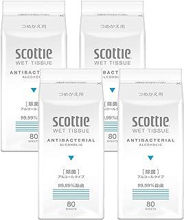 日本製紙 クレシア ウェットティシュー除菌99.99%詰替 80枚×4