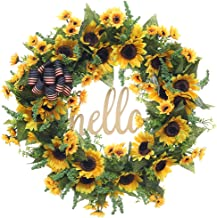 FAVOWREATH 2019 Vitality Series FAVO-W169 Handmade 18 inch Hello Letter,Sunflowers,Multi Flowers,Berry,Leaf Grapevine Wreath Summer/Fall Front Door/Wall/Fireplace Floral Hanger Home Every Day Decor