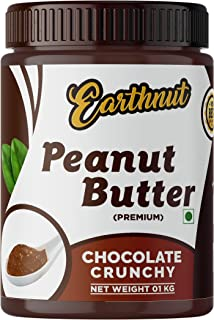 Earthnut Chocolate Peanut Butter Crunchy 1kg (Chocolate Flavor) (Gluten Free | Vegan) | Made with Roasted Peanuts, Cocoa P...