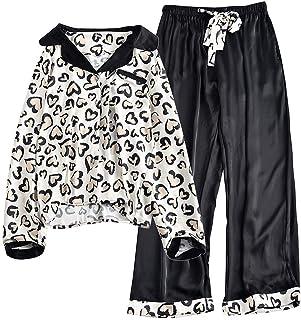 DKEE Pijamas Camisa De Seda Leopardo Camisa Blanca Pantalón Negro Pijama Estampa Pantera Manga Larga Camisa De Casa Vestid...