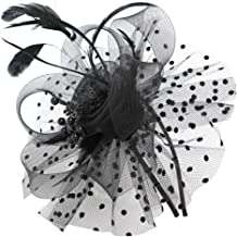 Fascinator Hats for Women Flower Feathers Clip for Women Cocktail Party Headwear Hats Bridal Kentucky Headband Black