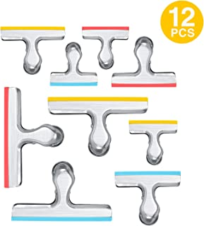 12 Pack 3 Sizes Chip Bag Clips Covered with Silicone - NO More Sharp Edges - Air Tight Seal Bag Clips, Bright Silver, 5 Inches, 3 Inches and 2.5 Inches