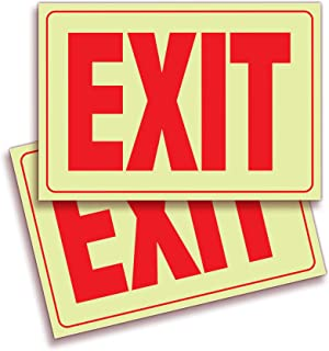 Exit Photoluminescent Signs Stickers – 2 Pack 10x7 Inch – Premium Self-Adhesive Glow in The Dark Vinyl, Laminated for Ulti...
