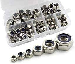 RuiLing 150pcs 304 Stainless Steel Lock Nut Assortment Kit for Hardware Accessories Nylon Insert Hex Lock Nuts Self Locking Nut M3 M4 M5 M6 M8 M10