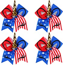 Oaoleer 8 inch Unicorn Cheer Bows for Cheerleader Girls Rainbow Hair Ponytail Tie with Elastic Band Pack of 4 (4 Pcs USA Unicorn Bows)