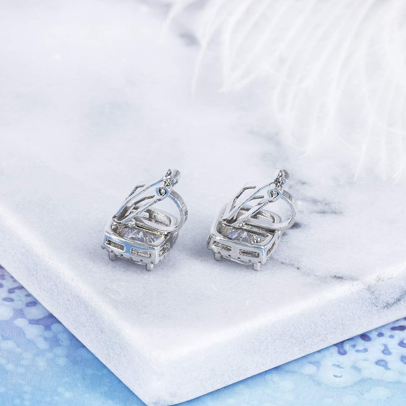 YOQUCOL 7MM Clip On Stud Earrings Square Cubic Zirconia Crystal Not Pierced Studs Earrings For Women Girls