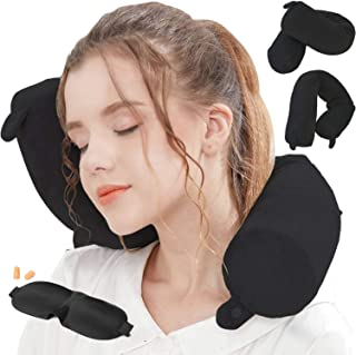 Lucear Twist Memory Foam Travel Pillow Neck, Chin, Lumbar Leg Support Traveling on Airplane, Bus, Train at Home (Black)
