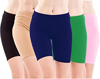 PIXIE Cotton Lycra Biowashed Cycling Shorts Pack of 5 + (PSHORTS5BBEBLGBABYP_Black, Beige, Blue, Green, Baby Pink_Free Size)