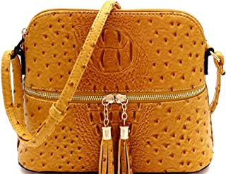 Ostrich Print Tassel Multi Zipper Pocket Compartment Dome Crossbody Bag