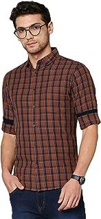 Dennis Lingo Men's Checkered Cream Slim Fit Cotton Casual Shirt