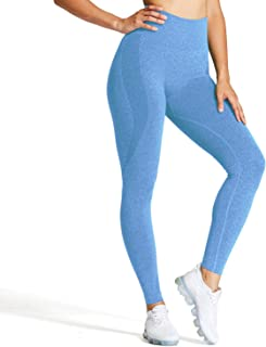 Aoxjox Women's High Waist Workout Gym Smile Contour Seamless Leggings Yoga Pants Tights