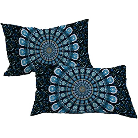 Blue Boho Cushions Hippie Pillow Cases Colorful Dream Catcher Bedroom Decor Watercolor Cushion Covers TWO MANDALA PILLOW Covers