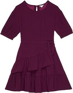 Mock Wrap Ruffle Dress (Big Kids)