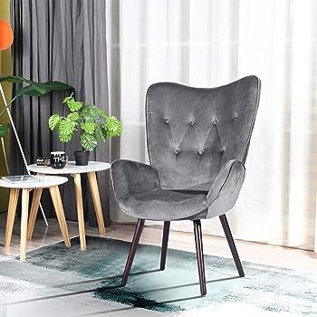 FurnitureR Silla de Ocio Moderna Mid-Century Silla de Ocio con Respaldo Alto Sillas de Brazos con diseño de Terciopelo y Costuras de Botones Gris