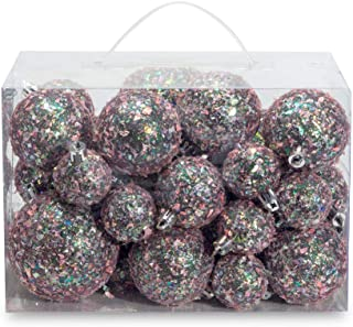 AMS 34ct Handmade Iridescent Xmas Balls Shatterproof Christmas Ornaments Set Glitter Special Color Decoration (34ct, Gray Iridescence)