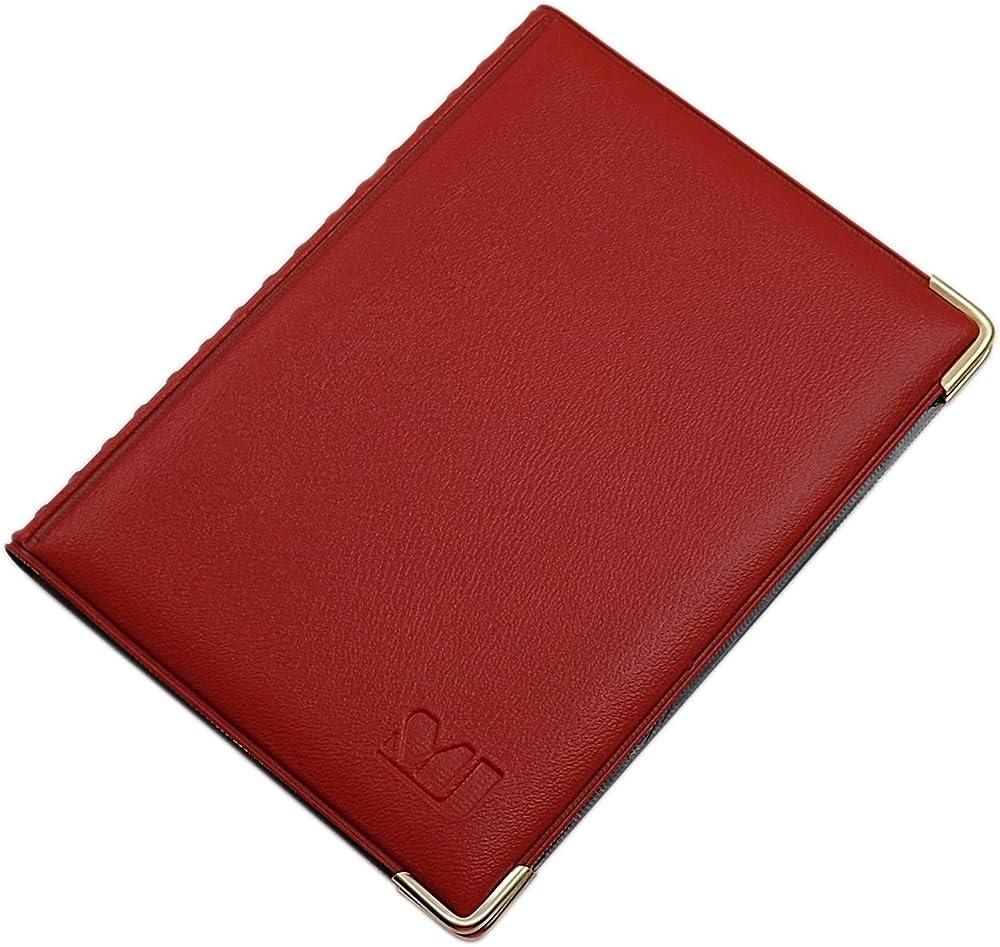 Myledershop, porta carte di credito, porta documenti, in pelle sintetica, rosso1