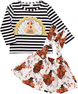 2PCS Newborn Baby Girl Thanksgiving Outfit Long Sleeve Striped Turkey Print T-Shirt+Floral Suspender Skirt Clothes Set