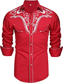 Men's Long Sleeve Embroidered Shirts Slim Fit Casual Button Down Shirt