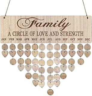 LIOOBO Wooden Birthday Reminder Calendar Plaque Sign Board Wall Hanging Family Decor Plaque