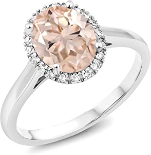 Gem Stone King 10K White Gold Peach Morganite and Diamond Women's Engagement Ring (1.60 Ct Oval 9x7mm. Available in size 5, 6, 7, 8, 9)