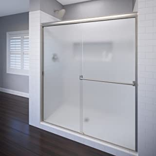 Basco Classic Sliding Shower Door, Fits 40-44 inch opening, Obscure Glass, Brushed Nickel Finish
