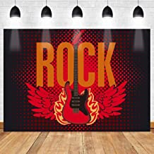 MEETSIOY Rock Star Backdrop Music Stage Guitar Red Wings 10X7ft Photography Background Themed Party Photo Booth YouTube Backdrop LSMT158