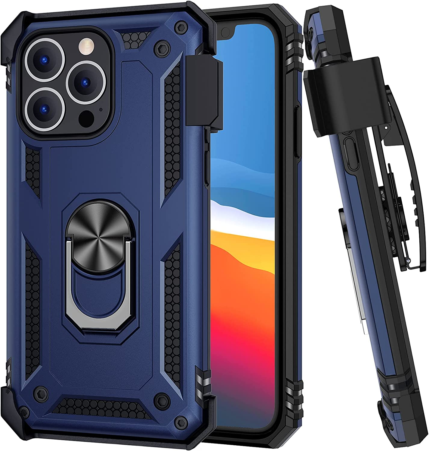 Ruky Clip Case Compatible with iPhone 13 Pro, iPhone 13 Pro Case with Belt Clip Holster Ring Stand Fit for Magnetic Car Mount Anti Scratch Phone Case for iPhone 13 Pro 6.1