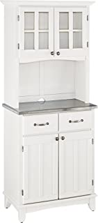 Buffet of Buffets White with Stainless Steel Top with Hutch by Home Styles