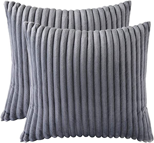 Aosler Set Of 2 Striped Flannel Throw Pillow Cover Luxury Soft Plush Cushion Cover For Sofa Couch Bed Car Home Decor Pillowcase Grey 18x18 Inch