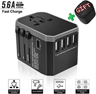 ANTERS Travel Adapter International Power Adapter Universal Travel Plug Adapter Worldwide Use with High Speed 2.4A 4USB and 1Type-C for AU US EU UK