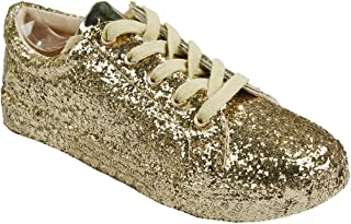 Women Fashion Metallic Sequins Glitter Lace up Light Weight Stylish Sneaker Shoes