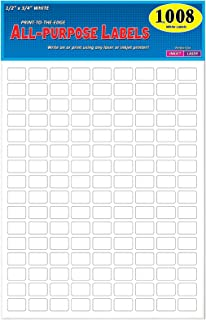 """Pack of 1008, 1/2"""" x 3/4"""" White Rectangle Labels, 8 1/2 x 11 Inch Sheet, Fits All Laser/Inkjet Printers, 144 Labels per Sheet, 0.5 x 0.75 Inches"""