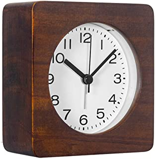 AROMUSTIME 3-Inches Square Wooden Alarm Clock with Arabic Numerals, Non-Ticking Silent, Backlight, Battery Operated, Brown