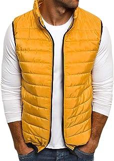 heymoney Men Hooded Vest Sleeveless Down Jacket Winter Zipper Warm Waistcoat
