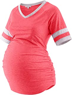 Bhome Maternity T Shirts Color Block Half Sleeve Top V Neck Baseball Tee