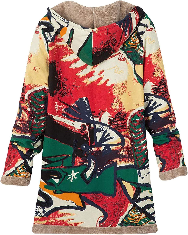 KEERADS Damen Mantel Sweatjacke Herbst Winter Langen Fleece Jacke Kapuzenjacke Winterjacke Steppjacke Outwear Coat mit Kapuze Rot