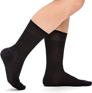 Nuats, Calcetines Negros de Hilo de Escocia Hombre y Mujer. (Pack de 3 pares) De algodón mercerizado, hasta la pantorrilla, ejecutivos, finos, transpirables. Ideales para vestir traje
