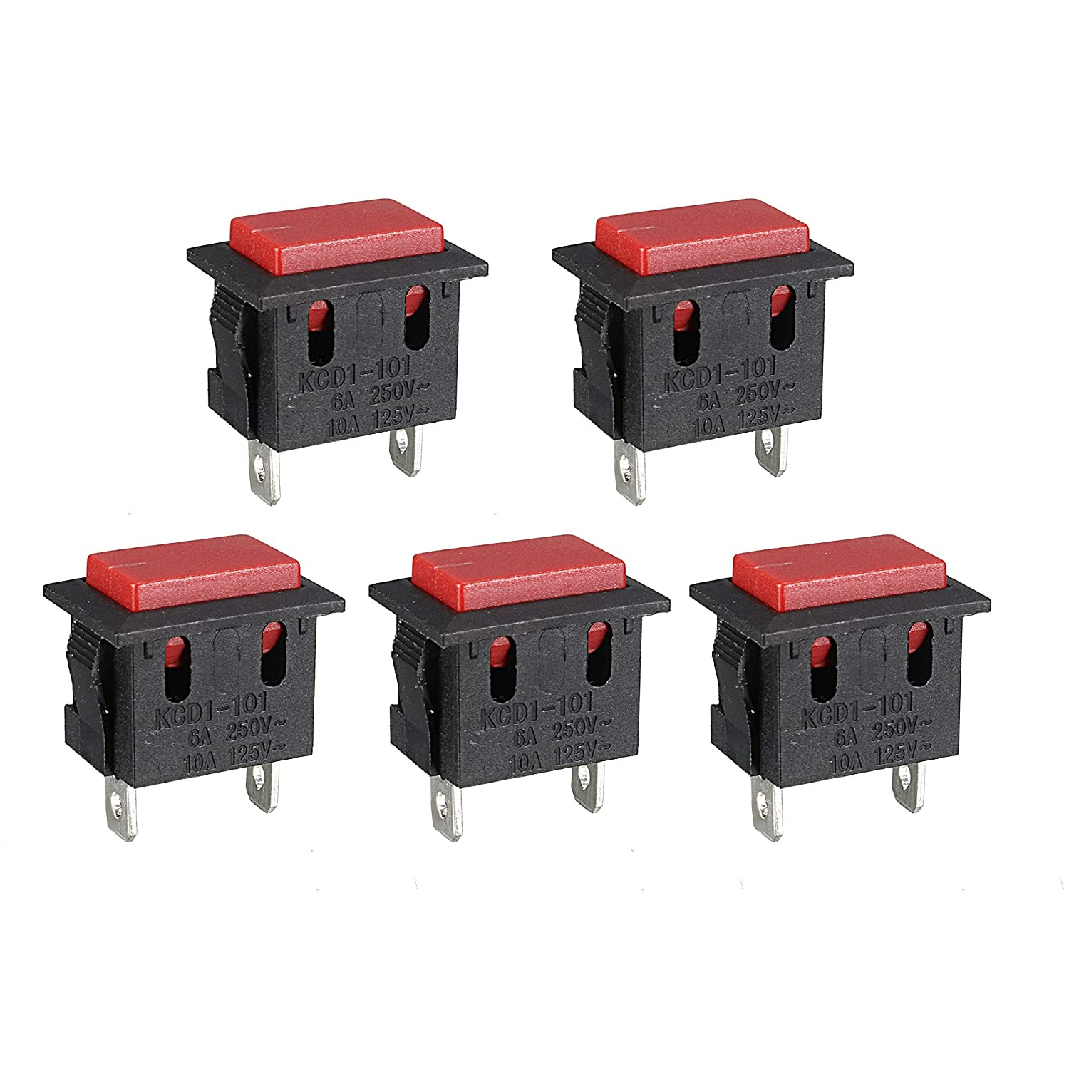 uxcell 5Pcs Limited time for free shipping Rectangle Momentary 2-Terminal SP Limited time trial price Push Switch Button