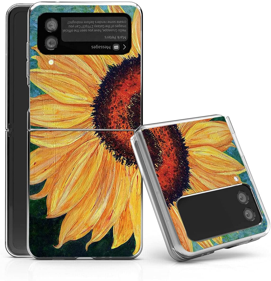 Galaxy Z Flip 3 5G Case,Bcov Sunflower Painting Anti-Scratch Solid Hard case Protective Shookproof Phone Cover for Samsung Galaxy Z Flip 3 5G