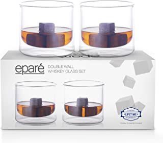 Eparé Whiskey Glasses - Double-Wall Glassware Set - Whisky, Bourbon, Scotch, Highball, Old Fashioned & Cocktail Tumbler