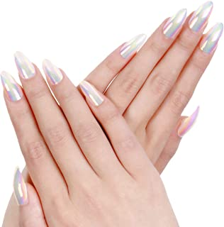 Ejiubas Press On Nails Chrome Stiletto Nail Tips Fake Nails with Nail Glue 24 Pcs 12 Sizes