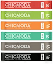 CHICMODA Resistance Bands Set, Exercise Loop Bands Tone Legs, Butt and Core. Workout Bands for Home Fitness, Stretching, Pilates, Crossfit, Yoga, Flexbands -Natural Latex