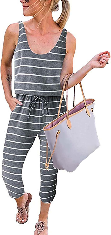 Angashion Women's Jumpsuits-Solid Sleeveless Elastic Waist Long Pants Rompers Summer