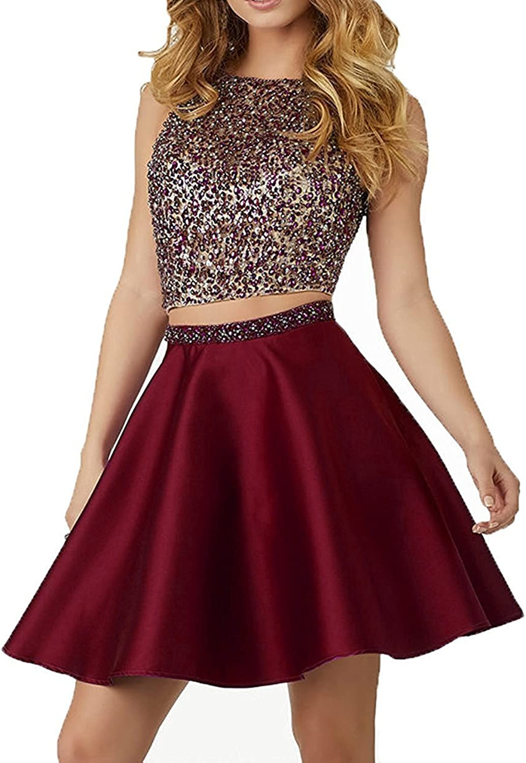 SULIDI Two Piece Beaded Short Open Back Homecoming Dress 13