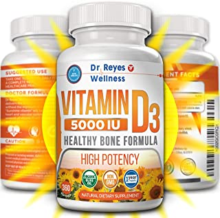 Vitamin D3 5000 IU Supplement | 360 Mini Softgels | with Organic Olive Oil | Non-GMO | Gluten Free VIT D | Healthy Muscle ...